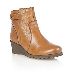 Lotus - Tan leather 'Shard' ankle boots