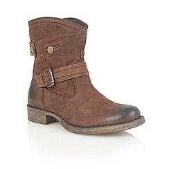 leather brown flat boots debenhams