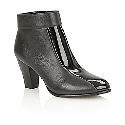Lotus - Black leather black patent 'Cedar' ankle boots