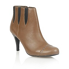 Lotus - Khaki leather 'Bea' ankle boots