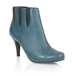 Lotus - Petrol leather 'Bea' ankle boots