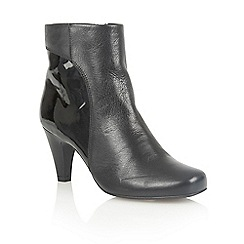 Lotus - Black leather shiny 'Consuelo' ankle boots