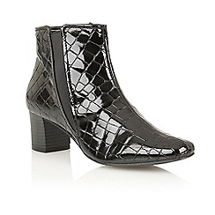Lotus - Black shiny croc 'Damask' ankle boots