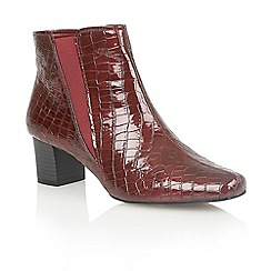 Lotus - Bordeaux shiny croc 'Damask' ankle boots