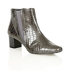 Lotus - Grey shiny croc 'Damask' ankle boots