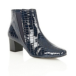 Lotus - Navy shiny croc 'Damask' ankle boots