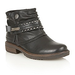 Lotus - Black matt 'Mena' ankle boots