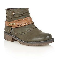 Lotus - Green matt 'Mena' ankle boots