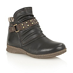 Lotus - Black matt 'Hailee' ankle boots