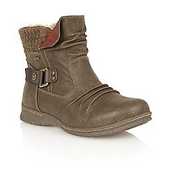 Lotus - Khaki matt 'Namora' ankle boots