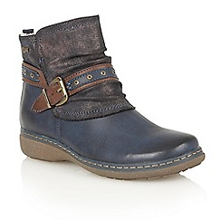 Lotus - Blue matt 'Freida' ankle boots