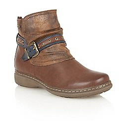 Lotus - Brown matt 'Freida' ankle boots