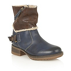 Lotus - Blue matt 'Doreen' ankle boots