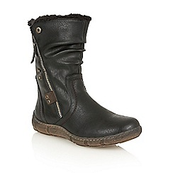 Lotus - Black matt 'Elsie' calf boots