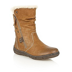 Lotus - Tan matt 'Elsie' calf boots