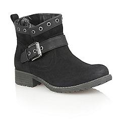 Lotus - Black microfibre 'Tayvonne' ankle boots