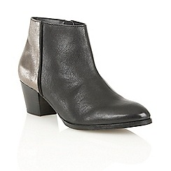 Lotus - Black pewter leather 'Curran' ankle boots