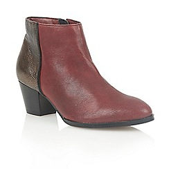 Lotus - Bordeaux bronze leather 'Curran' ankle boots