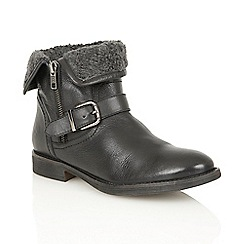 Lotus - Black leather 'Annabeth' ankle boots