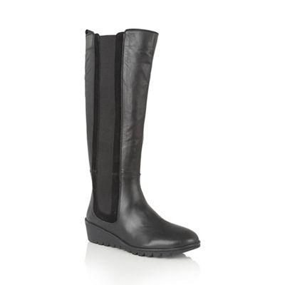lotus black leather alona knee high boots debenhams