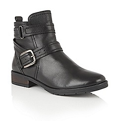Lotus - Black leather 'Kalei' zip up ankle boots