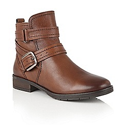 Lotus - Tan leather 'Kalei' zip up ankle boots
