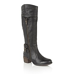 Lotus - Black leather 'Yukka' knee high boots