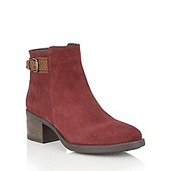 Lotus - Red suede 'Alder' ankle boots