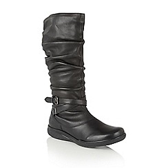 Lotus - Black leather 'Kalina' knee high boots