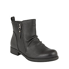 Lotus - Black 'Fir' zip up ankle boots
