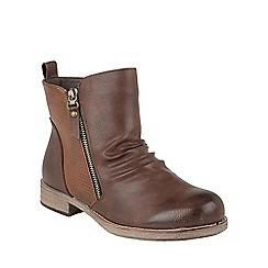 Lotus - Brown 'Fir' zip up ankle boots