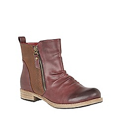 Lotus - Red 'Fir' zip up ankle boots
