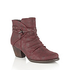 Lotus - Red 'Philox' zip up ankle boots
