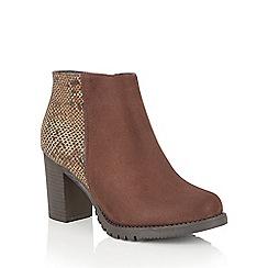 Lotus - Brown 'Gemini' animal print ankle boots