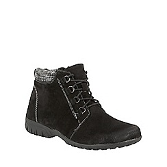 Lotus - Black suede 'Santana' lace up ankle boots