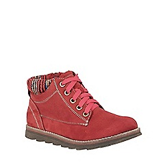 Lotus - Red 'Sequoia' lace up ankle boots