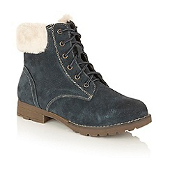 Lotus - Blue leather 'Vardy' lace up ankle boots