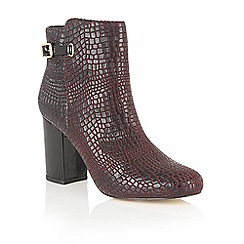 Lotus - Red 'Adoette' croc print ankle boots