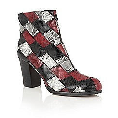 Lotus - Black 'Laura' animal print ankle boots