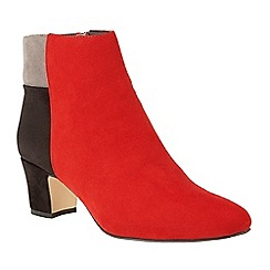 Lotus - Red 'Clara' mid heel ankle boots