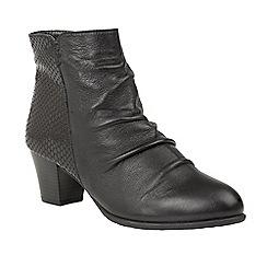 Lotus - Black 'Punata' mid heel ankle boots