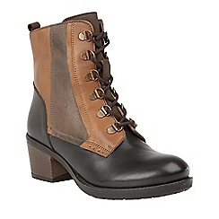 Lotus - Brown 'Onslow' mid heel lace up boots