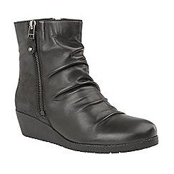Lotus - Black 'Sonora' mid heel ankle boots