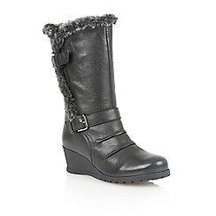 Lotus - Black 'Korinna' mid heel calf boots