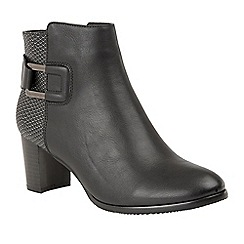 Lotus - Black 'Jeckle' mid heel ankle boots