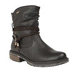 Lotus - Black 'Busby' mid heel calf boots