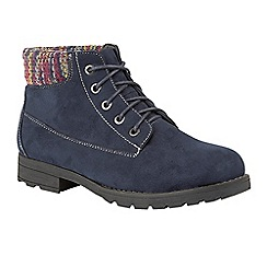 Lotus - Blue 'Reveka' flat heel ankle boots