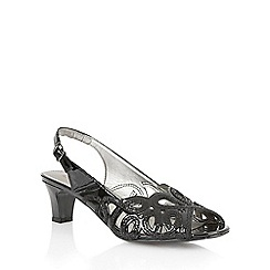 Lotus - Black patent/snake 'Harper' open toe sandals