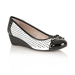 Lotus - White Perf/black shiny 'Elizabeth' ballerina slip on shoes