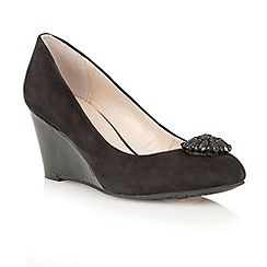 Lotus - Black suede 'Diamante' wedge court shoes